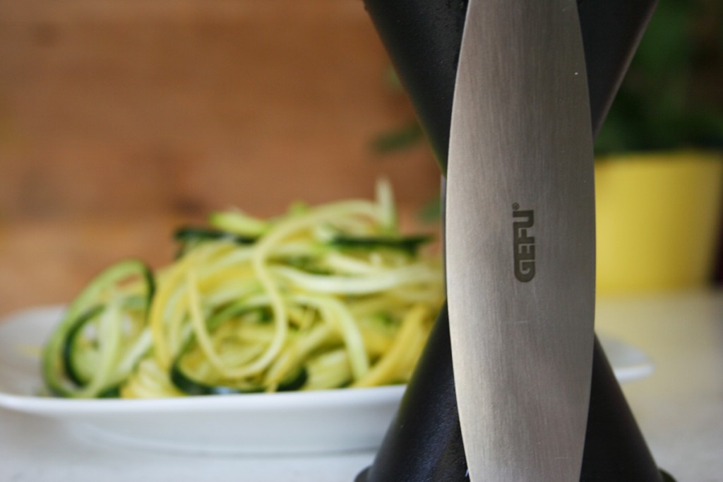 GEFU Spiralizer or Spiral Slicer is a neat kitchen tool that will make noodles from zucchini, carrots, and cucumbers! Great for sauces, stir friy's and salads.