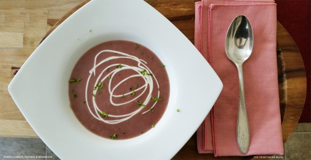 Purple Carrot, Havarti & Mushroom Soup
