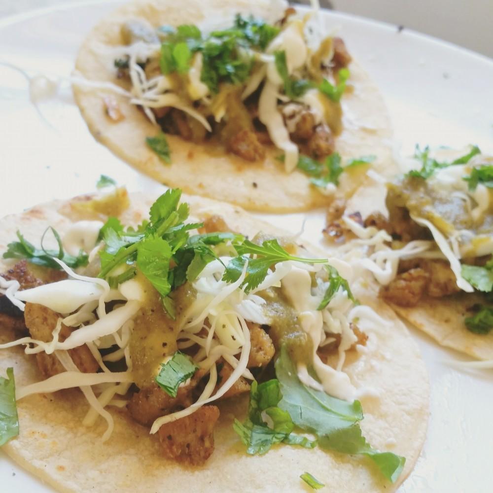 Chile Verde Seitan Tacos
